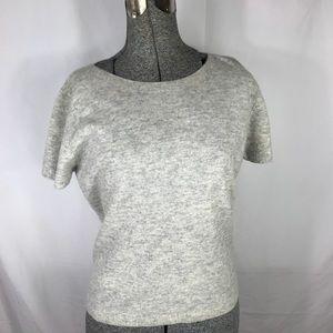 J Jill Lambswool Short Sleeve Heather Gray Shirt S